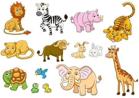 conjunto de ilustra��o dos desenhos animados de animais