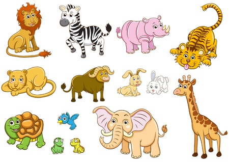 set of Illustration  animal cartoon illustration