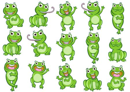 set of illusion frog cartoon photo