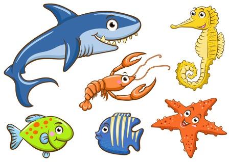 peces caricatura: animales acuáticos en el mar