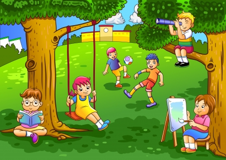 illustration of a kids playing in the garden illustration