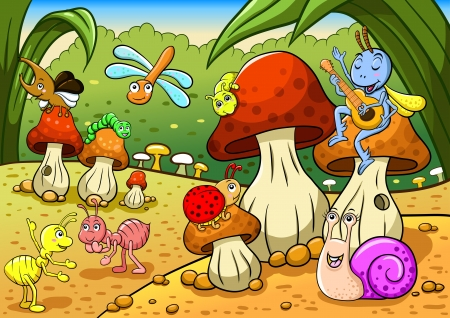 catarina caricatura: Los insectos de la familia en el suelo