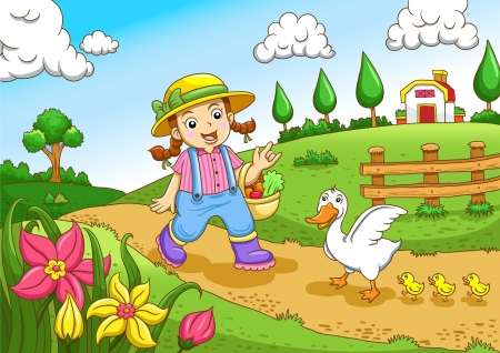 Cute little farmers girl at a farm