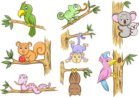 mono caricatura: animales en un árbol