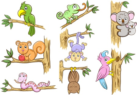 cartoon monkey: animals in a tree