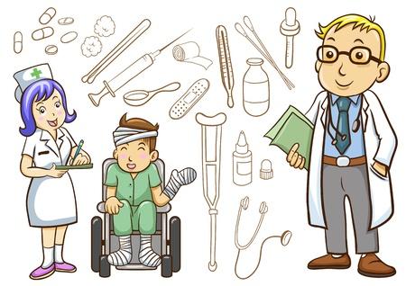 medico caricatura: Médico y el Hospital de iconos de colección