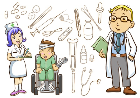 doctor cartoon: Medical and Hospital icons collection Stock Photo