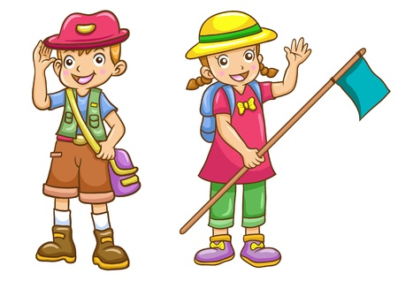 cartoon boy girl scout illustration with simple gradients  All in separate layers for easy editing  illustration