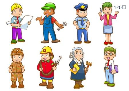 tűzoltó: Foglalkozás beállított illusztráció egyszerű színátmenetek All külön rétegben az egyszerű szerkesztés
