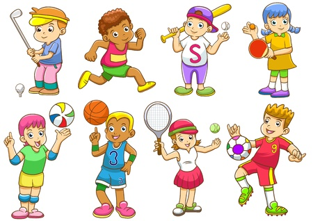 woman golf: illustration of children playing different sports    Stock Photo