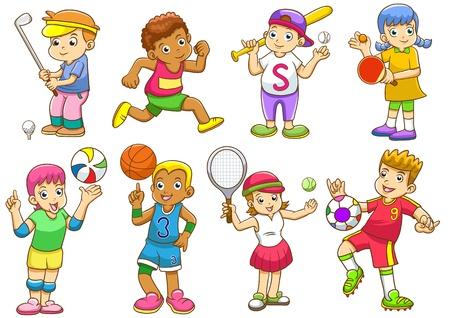 ilustra��o das crian�as que jogam esportes diferentes