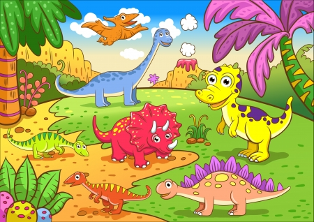 Cute dinosaurs in prehistoric scene - simple Gradients, no Effects, no mesh, no Transparencies  All in separate  group and layer for easy editing Stock Photo