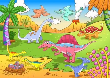 Cute dinosaurs in prehistoric scene File - simple Gradients, no Effects, no mesh, no Transparencies  All in separate  group and layer for easy editing photo