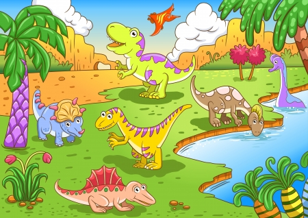 Cute dinosaurs in prehistoric scene File - simple Gradients, no Effects, no mesh, no Transparencies  All in separate  group and layer for easy editing Vector