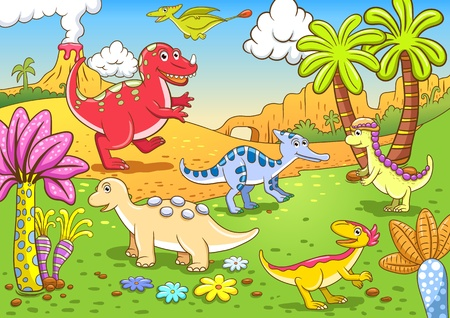 Cute dinosaurs in prehistoric scene EPS10 File - simple Gradients, no Effects, no mesh, no Transparencies  All in separate  group and layer for easy editing photo