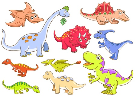 Cute dinosaurs  EPS10 File - simple Gradients, no Effects, no mesh, no Transparencies  All in separate  group for easy editing Stock Photo - 18684300