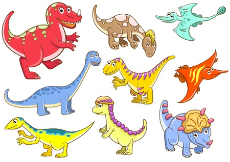 prehistoric animals: Cute dinosaurs File - simple Gradients, no Effects, no mesh, no Transparencies  All in separate  group for easy editing Stock Photo