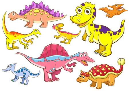 Cute dinosaurs  EPS10 File - simple Gradients, no Effects, no mesh, no Transparencies  All in separate  group for easy editing Stock Photo - 18684308