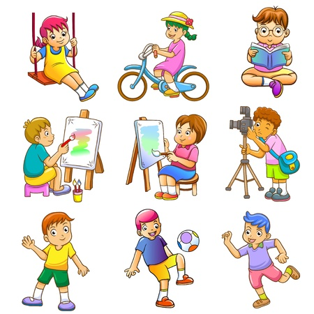 hobbies for kids. 모든 쉬운 편집을위한 별도 레이어에 간단한 그라데이션, 효과없이, 아니 메쉬 hobbies for kids p