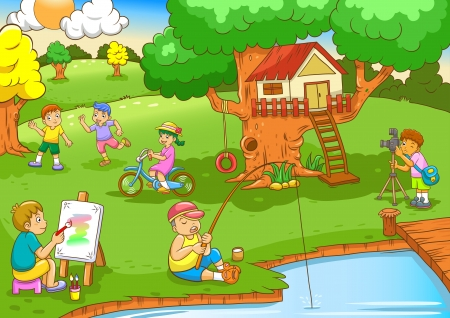 children painting: children playing under tree house File - simple Gradients, no Effects, no mesh, no Transparencies All in separate layers for easy editing