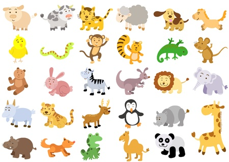 monkey cartoon: Extra large set of animals File - simple Gradients, no Effects, no mesh, no Transparencies All in separate group for easy editing