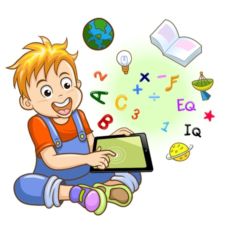 Boy and tablet   EPS10 File - simple Gradients, no Effects, no mesh, no Transparencies All in separate group for easy editing  Vector