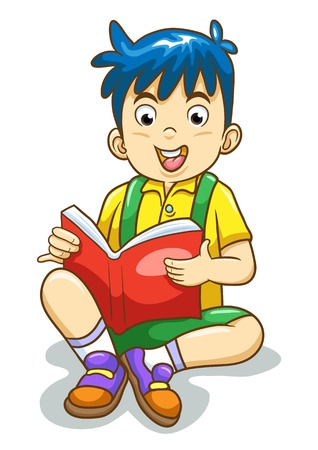 Reading boy isolated  EPS10 File - simple Gradients, no Effects, no mesh, no Transparencies All in separate group for easy editing  Vector