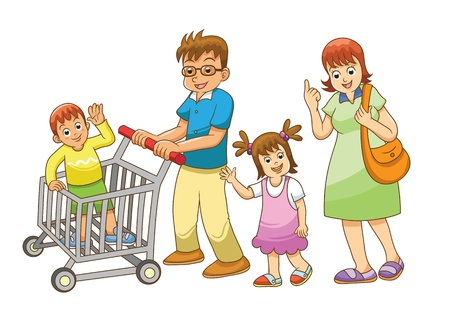 family shopping  in department stores Vector