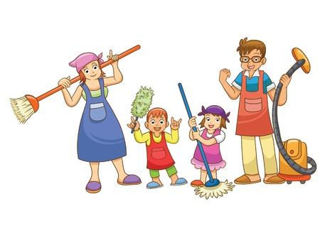 mop: housework family cartoon Illustration