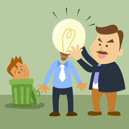 illustration of business cartoon Change a heads Vector Illustration