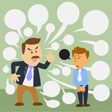 illustration of business man cartoon. angry boss  イラスト・ベクター素材