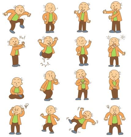 set of funny cartoon office worker vector