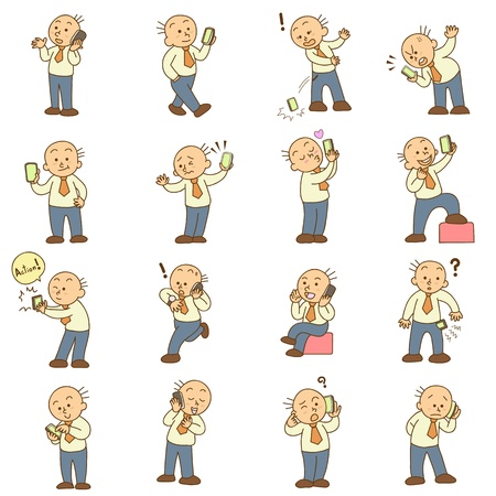 set of funny cartoon man and mobile phone vector