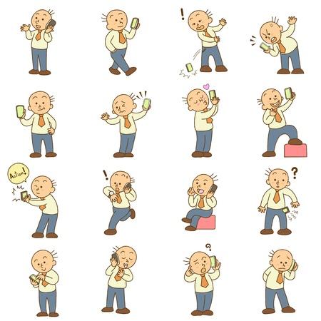 Set van grappige cartoon man en mobiele telefoon vector Stockfoto - 20883016