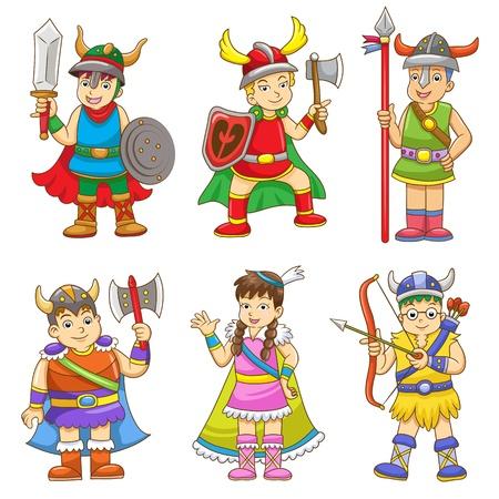 set of cartoon viking  イラスト・ベクター素材