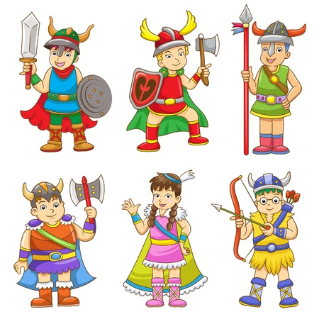 conjunto de desenhos animados viquingue Ilustra��o