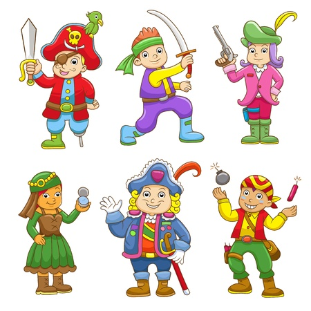 set of pirate child cartoon. EPS10 File no Gradients, no Effects, no mesh, no Transparencies.All in separate group for easy editing.  Vector
