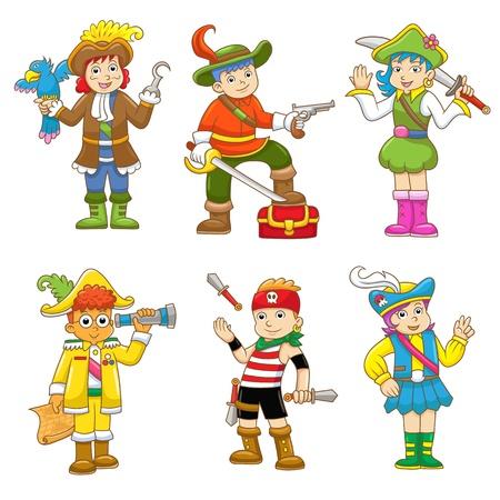 conjunto de pirata dos desenhos animados da crian