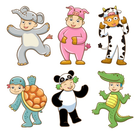 Kid with animals costume. EPS10 File  no Gradients, no Effects, no mesh, no Transparencies.All in separate group for easy editing. Vector