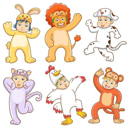 子供動物衣装と一緒に。EPS10 ファイルのグラデーション、効果なし、ないメッシュない別のグループに簡単に編集用 Transparencies.All。 写真素材 - 21500035