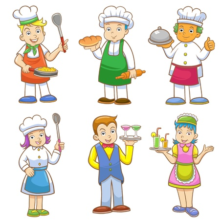 cartoons of kids chefs and set of cooking.  EPS10 File - no Gradients, no Effects, no mesh, no Transparencies.All in separate group for easy editing. Vector