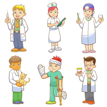 veterinarians: Doctor and Medical person cartoon set. EPS10 File  no Gradients, no Effects, no mesh, no Transparencies.All in separate group for easy editing.