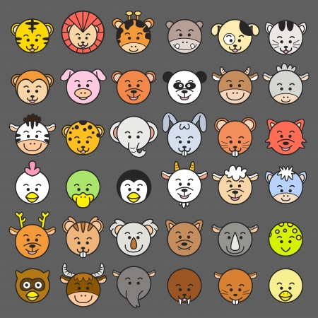 draw animal: illustration of animal faces