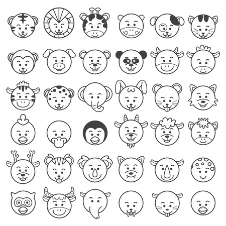 illustration of animal faces Vector