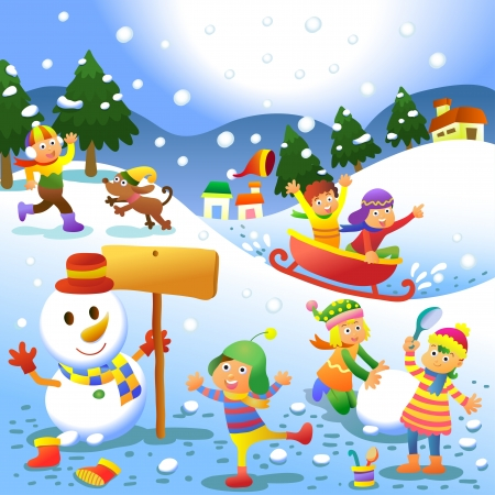 for kids: cute kids playing winter games. EPS10 File - simple Gradients, no Effects, no mesh, no Transparencies.All in separate layer and group for easy editing.