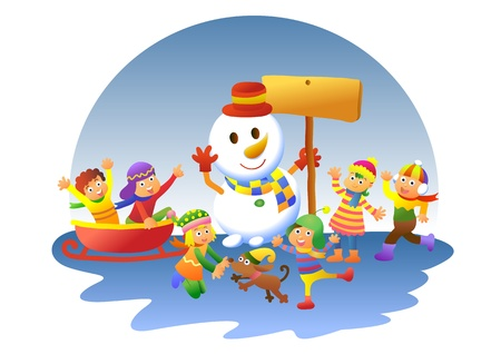 cute kids playing winter games. EPS10 File - simple Gradients, no Effects, no mesh, no Transparencies.All in separate layer and group for easy editing. Vector