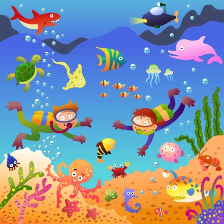 Under the sea.EPS10 File - simple Gradients, no Effects, no mesh, no Transparencies.All in separate group for easy editing.