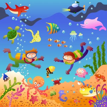 snorkel: Onder de sea.EPS10 File - eenvoudig verlopen, geen effecten, geen maas, geen Transparencies.All in aparte groep voor eenvoudige bewerking.
