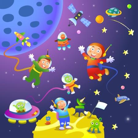 공간의 장면에서 소년 소녀 우주 비행사