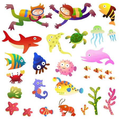 Sea fishes and animals collection.EPS10 File  simple Gradients  イラスト・ベクター素材